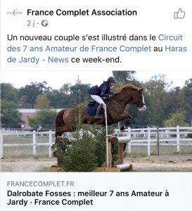 Encore de bonnes nouvelles des chevaux vendus par l'écurie